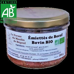 Émietté bio de viande bovine Auvergne - drive fermier