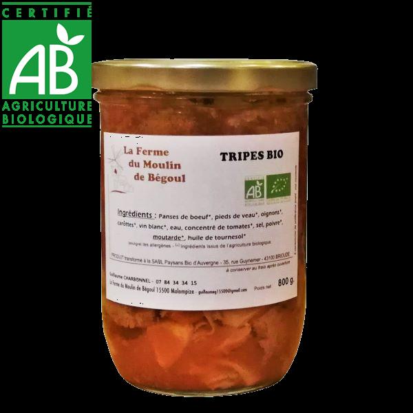 Conserve de Tripes de boeuf bio cuisinées en Auvergne par la ferme du Moulin de Bégoul