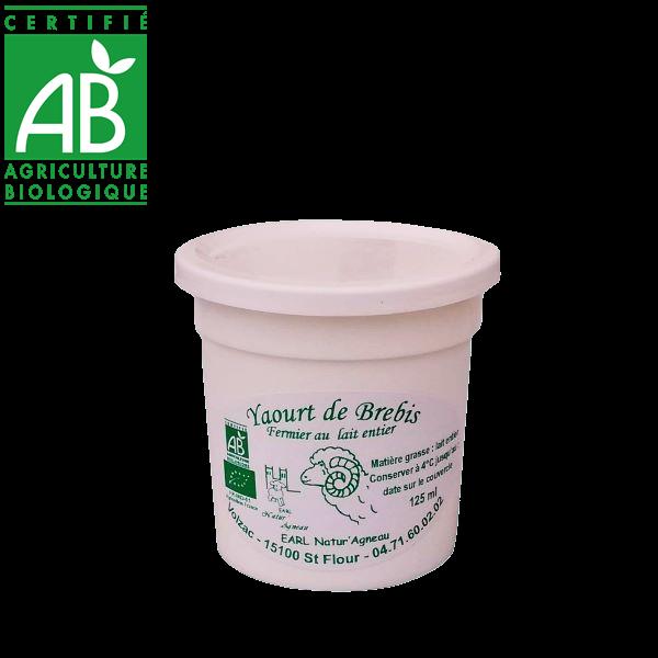 Yaourt bio de lait entier de brebis drive fermier Auvergne