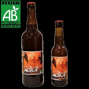 Bière artisanale bio ambrée La Milvus brassée en Auvergne
