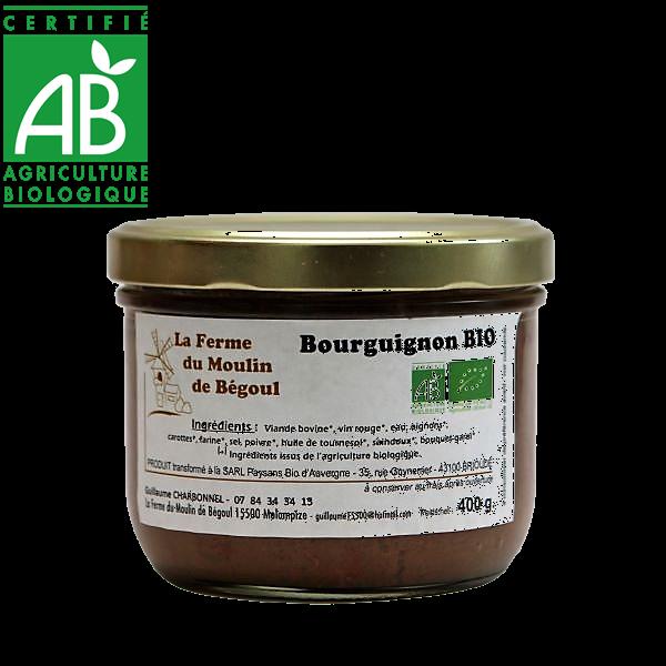 Bourguignon viande d'Aubrac bio de la ferme du moulin de Bégoul