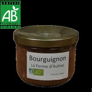 conserve de bourguignon à base de viande de bœuf bio d'Auvergne