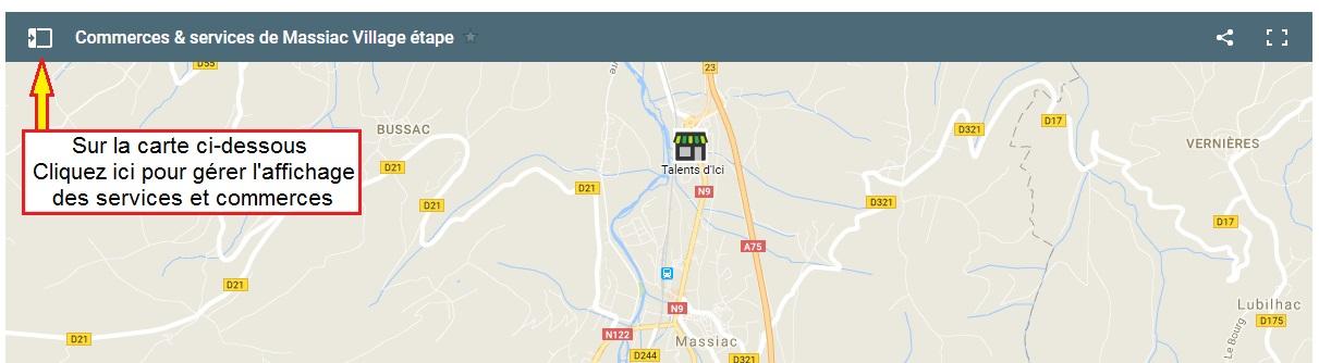 les services et commerces de Massiac village-étape en Auvergne