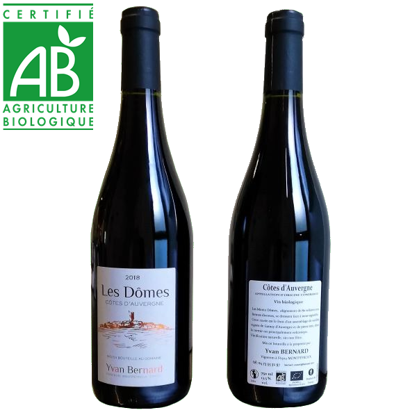vin rouge bio AOC Côtes d'Auvergne Les Dômes d'Yvan Bernard