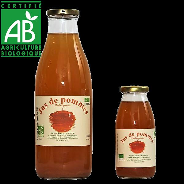 Jus de pomme bio du Cantal en Auvergne produit par Caroline Leroy