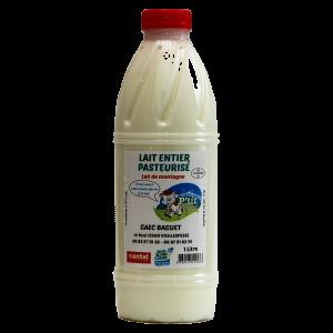bouteille de lait entier pasteurisé de la ferme Baguet