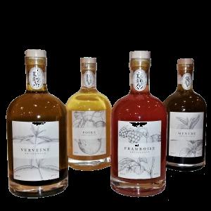 liqueurs artisanales d'Auvergne Verveine, Poire, Framboise, Menthe