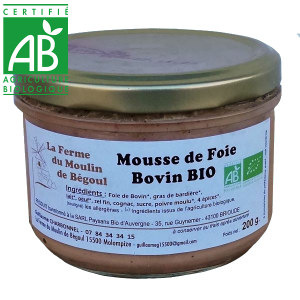 Mousse de foie bio de viande bovine Auvergne