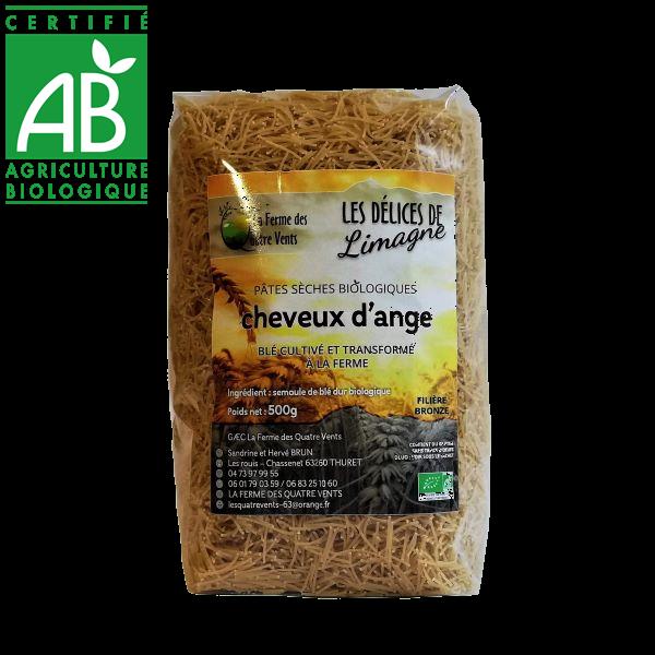 Pâtes cheveux d'ange bio au blé cultivé à la ferme des 4 vents en Auvergne