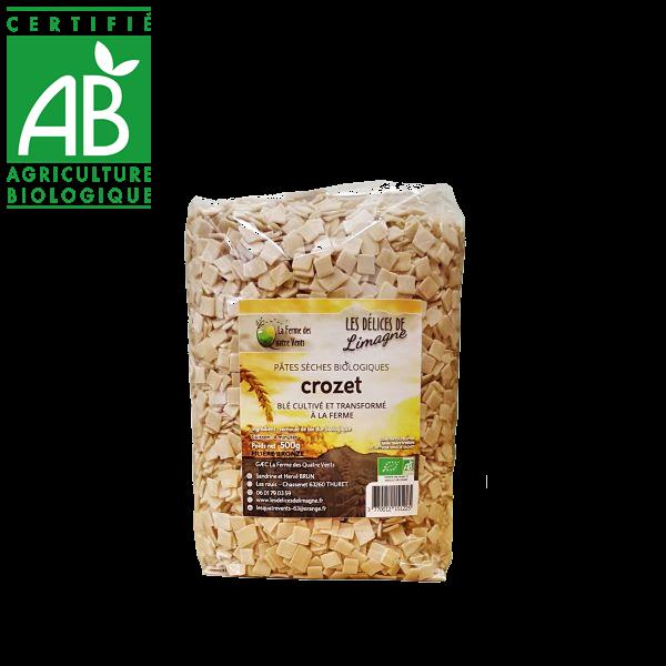 Pâtes crozet bio à la farine de blé dur cultivées en Auvergne