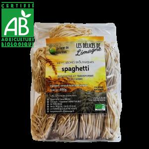 Pâtes spaghetti bio au blé cultivé à la ferme des 4 vents en Auvergne