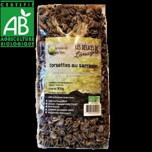 Pâtes torsettes bio à la farine de sarrasin cultivées à la ferme des 4 vents en Auvergne