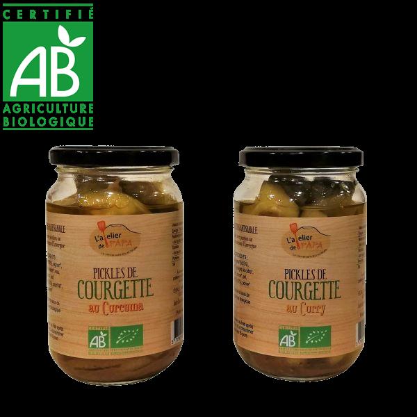 Pickels de courgettes bio fabriqués par l'Atelier de Papa Auvergne