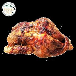 poulet fermier de plein air rôti à la broche sur le drive