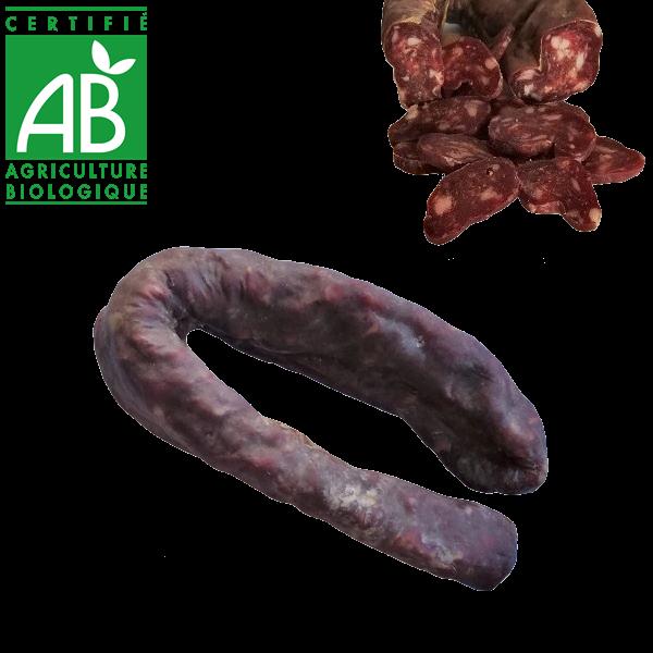 Saucisse sèche de viande bovine bio fermier en Auvergne