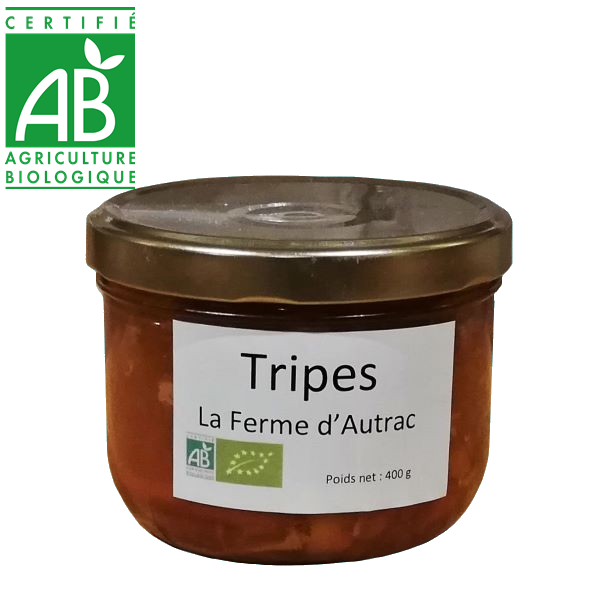 conserve de tripes cuisinées à base de viande bio d'Auvergne
